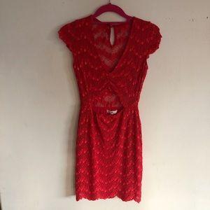 Nightcap Clothing Red Lace Mini Dress